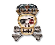 Halloween Needlepoint canvas - Skull and Crossbones - 18 mesh $16.00