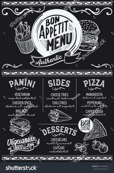 Food menu for restaurant and cafe. design template with hand-drawn graphic illustrations. Menu Restaurant, Seafood Menu, Restaurant Identity, Menu Board Design, Food Menu Design, Cafe Design, Design Design, Design Ideas, Graphic Design