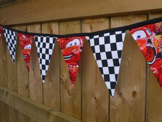 Lightening McQueen Fabric Pennant Bunting Banner - great for birthday partys, 1st Birthday Cake Smash Photos, Playrooms & More