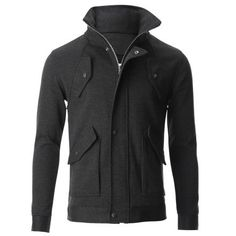 FLATSEVEN Mens Bomber Hooded Zip-up Button High Neck Jacket with Pocket (JK401)