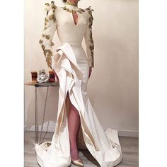 #DM#donamatoshi# Formal Evening Dresses, Elegant Dresses, Evening Gowns, Beautiful Dresses, African Fashion Dresses, Fashion Outfits, Moda Chic, Prom Dresses Long With Sleeves, Luxury Dress