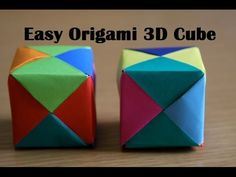Origami Cube - Very Easy Paper Cube for Kids, My Crafts and DIY Projects Origami Ball, Origami 3d Cube, Origami Infinity Cube, Instruções Origami, Origami Folding, Paper Crafts Origami, Paper Folding Crafts, Oragami, Easy Origami For Kids