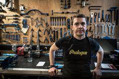 Bike mechanic Darrell Varley from Bike repair workshop called Prologue in Harrogate