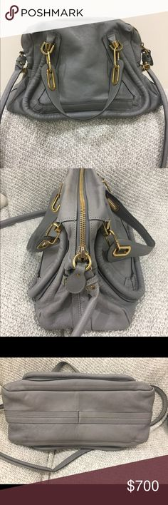Small Paraty Satchel in Cashmere Grey Authentic. Worn but good condition. Please refer to pictures for leather scuffing on the top edge by the zipper, and pen marks on interior lining. Some leather creaming (light) and slight indentations on robbing due to hardware on handles (this is normal and happens to all Paratys). Comes with authenticity card but no dust bag. Color: Cashmere Grey. 14X10X5. Chloe Bags Satchels