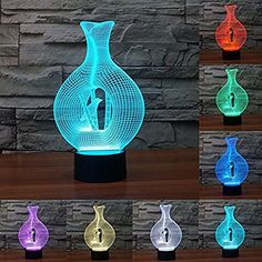 Mystery 3D Amazing Caged Bird Optical Illusion Desk Lamp 7 Colors Change Touch Switch LED Table Lamp Childrens Night Light for Home Decoration Household Bedroom Lighting -- Check this awesome product by going to the link at the image.