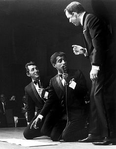 Dean Martin, Sammy Davis Jr., and Frank Sinatra on stage, 1963