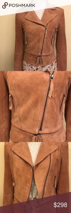 White House Black Market Jacket WHBM NWT suede moto jacket Winter Blossom WHBM color Beautiful soft leather Wear open or closed Bottom zips off for crop jacket look New with tag - Sad to let this one go - It's just not my color! White House Black Market Jackets & Coats