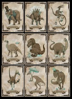 SteamPUNk Dinosaur set of NINE small prints by theGorgonist, $45.00