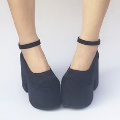 641c734c8db Custom Made Black Simple High Heels Platform Shoes SP168133