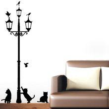 Ev dekorasyon 3 altında küçük kedi sokak lambası diy duvar sticker duvar art decor mural odası çıkartması adesivo de parede çıkartmalar(China (Mainland))