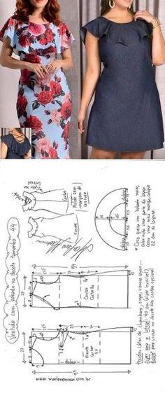 new Ideas dress pattern sewing tuto robe Dress Sewing Patterns, Sewing Patterns Free, Clothing Patterns, Pattern Sewing, Skirt Patterns, Coat Patterns, Pattern Drafting, Blouse Patterns, Fashion Sewing