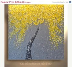 COMMISSION Original Tree Painting Yellow Flower Abstract Paintings Canvas Art Oil Painting Wall Decor Artwork Modern Art by OTO
