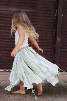 Beautiful hippie girls skirt Boho beachy rag by TheEcoPrincess, $30.00