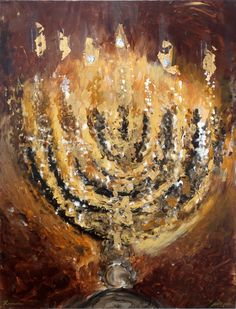 Acrylic on canvas with gold leaf, 130 x 100 cm Contact for pricing Jewish Crafts, Jewish Art, Bar Mitzvah Invitations, Party Invitations, Arte Judaica, Prophetic Art, Biblical Art, Festival Lights, Tatoo
