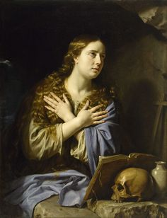 """Philippe de Champaigne (1602 - 1674) """"The Repentant Magdalen"""" Date: 1648 Medium: oil on canvas Dimensions: Height: 1,159.002 mm (45.63 in). Width: 889 mm (35 in). Museum of Fine Arts, Houston"""