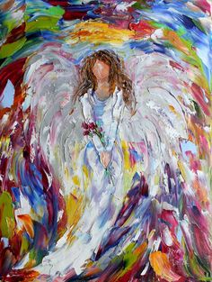 Original oil painting Winter Angel palette knife by Karensfineart
