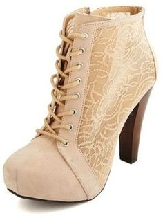 Floral Mesh Inset Lace-Up Bootie