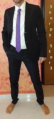 Abito Daniele Alessandrini Uomo Nero con Interno Viola Completo di Cravatta Seta