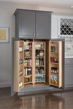 Diy Kitchen Remodel, Kitchen Flooring, Rustic Farmhouse Kitchen, Modern Kitchen, Sage Kitchen, Kitchen Layout, Pantry Design, New Kitchen Cabinets, Kitchen Design