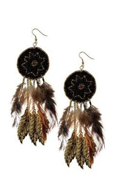 Erica Bead and Feather Earrings