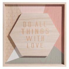 Tableau en bois 30 x 30 cm WITH LOVE