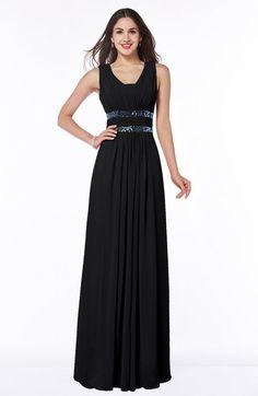 6bd7c677ef36 Black Glamorous A-line Zip up Chiffon Sash Plus Size Bridesmaid Dresses  Tangerine Bridesmaid Dresses