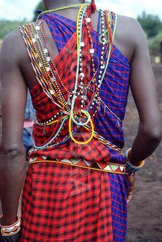 Massai Warrior beadwork and check. Kenya, Tartan, Masai Tribe, Africa Tribes, Maasai People, Tribal People, African Textiles, International Style, Couture Details