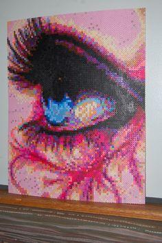 beauty eye perler bead art made by me - amanda wasend