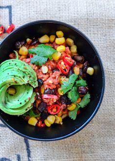 Recipe: Roast Veggie Mexican Pasta Mexican Pasta, Happy Earth, Cobb Salad, Roast, Curry, Veggies, Healthy Recipes, Ethnic Recipes, People