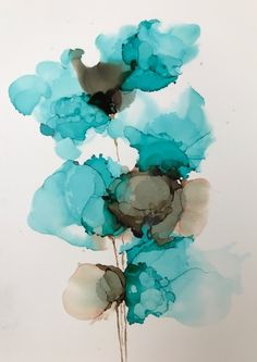 """Misty Blue"" Alcohol ink on yupo by Gloria Gelo"
