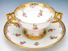 Limoges  1890 - teacup. Pink roses.