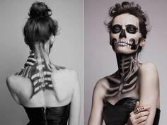 Skeletal Style: A Scary Fashion Shoot Featuring Fierce Faux Face Tattoos - The Frisky Skeleton Makeup, Skull Makeup, Hair Makeup, Sfx Makeup, Dead Makeup, Zombie Makeup, Halloween Looks, Halloween Face Makeup, Halloween Costumes