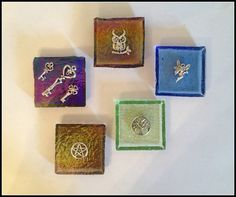 """Glass Altar Tiles ~ 2"""" x 2"""" ~ Wicca ~ Witch ~ Pagan ~ Hecate Keys ~ Owl ~ Tree of Life ~ Faerie ~ Pentacle ~ Altar Decoration ~ Rituals by SummerlandBB"""