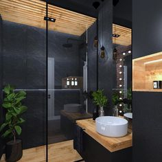 The floating sink and lack of clutter to the room demonstrate Japanese modern in. - The floating sink and lack of clutter to the room demonstrate Japanese modern influence. Bathroom Design Luxury, Modern Bathroom Decor, Modern Bathroom Design, Bathroom Lighting, Bathroom Ideas, Colorful Bathroom, Bathroom Black, Bathroom Trends, Simple Bathroom