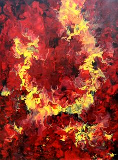 """Breath of Fire"", Abstract Art by Eric Siebenthal. More at Acrylicmind.com $1000.00"