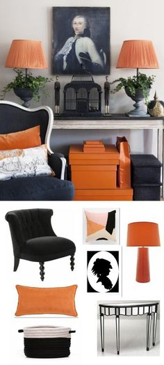 Orange and black are surprisingly hot in a more traditional setting. We like adding some orange to punch up a darker, more Victorian look.