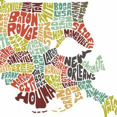 METAIRIE!! Louisiana typography map art print featuring its by joebstudio