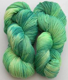 Fresh Cut Grass -Swing Monkey fingering weight hand painted sock yarn by DyeMonkeyYarns on Etsy