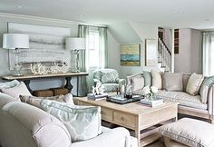 A light palette looks fresh and inviting in this Hamptons living room Photo: Squire Fox Design: Skye Kirby & Lillian August