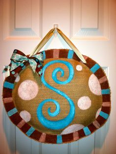 Sophisticated Initial  Customized Burlap by PolkadotPenguinShop, $25.00