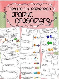 Reading Comprehension Graphic Organizers and Activities Reading Comprehension Skills, Reading Strategies, Reading Groups, Teaching Reading, Guided Reading, Reading Anchor Charts, 2nd Grade Reading, Reading Workshop, Graphic Organizers
