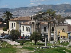 Roman agora.  The Gate of Athena Archegetis - is preserved in very good condition. It has the form of a propylon with four Doric columns (eight meters each) and an epistyle, bearing inscriptions with the names of Julius Caesar and Augustus who gave this monument to the people, as well as a dedication to the patroness of the city, Athena Archegetis.