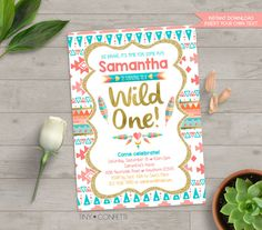 wild one birthday invitation, wild one invitation, tribal birthday invitation, tribal birthday party, boho, aztec, 1st birthday, girl, gold by TinyConfetti
