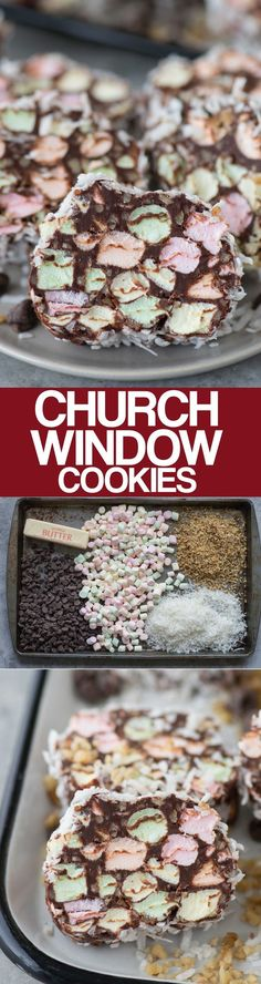 A classic no bake christmas cookie made with mini marshmallows Church Windows! A classic no bake christmas cookie made with mini marshmallows chocolate walnuts and shredded coconut these church window cookies are a family favorite! Candy Recipes, Holiday Recipes, Cookie Recipes, Baking Recipes, Köstliche Desserts, Delicious Desserts, Dessert Recipes, Frosting Recipes, Plated Desserts