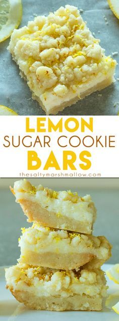 Sugar Cookie Bars Lemon Sugar Cookie Bars: These lemon bars are one of the best easy to make lemon desserts! They have a sugar cookie crust and tangy lemon cheesecake filling!Lemon Sugar Cookie Bars: These lemon bars are one of the best easy to make lemo Dessert Oreo, Bon Dessert, Brownie Desserts, Easy Desserts, Delicious Desserts, Yummy Food, Cheesecake Desserts, Marshmallow Cheesecake, Marshmallow Recipes