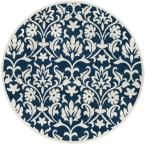 Amherst Navy/Ivory (Blue/Ivory) 7 ft. x 7 ft. Indoor/Outdoor Round Area Rug