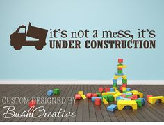 Boy Wall Decal Under Construction Boy Nursery by bushcreative, $15.00 -- would be perfect for the playroom