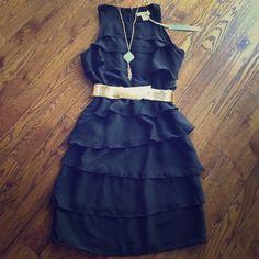 New Silk Black Ruffle-Layered Dress New, never worn. Beautiful silk dress in size 4. Belt not included. Kenar Dresses