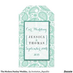The Modern Paisley Wedding Collection - Green Pack Of Gift Tags