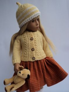 Classic Cardigan with Hat and Socks: Hand knitted for Sasha dolls.